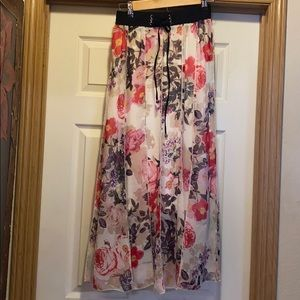 Lapis Floral Suede Waist Ribbed Maxi Skirt S
